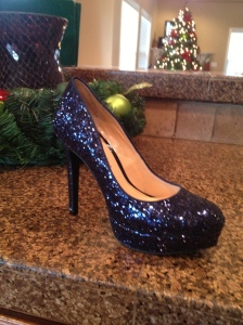 These are her festive shoes. And she has a beautiful Christmas tree.