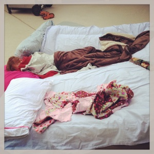 In the summer, we make the children bond by sleeping outside.  On a mattress that slowly deflates during the night.